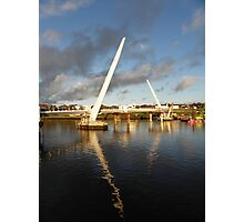 New Peace Bridge in constuction over river Foyle - Derry Ireland Photographic Print