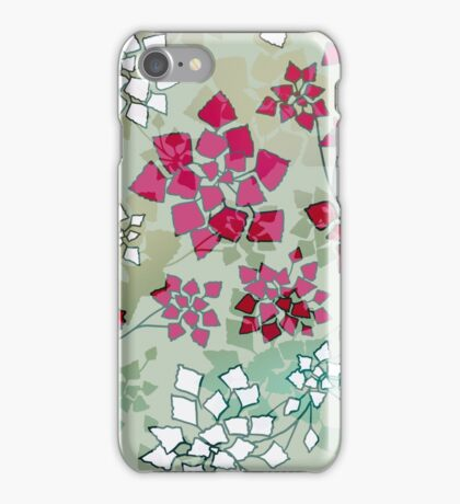 Water caltrop pattern in gray, pale green and pink iPhone Case/Skin