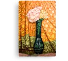 Roses In A Green Vase Canvas Print