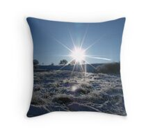 Sunrise over a snowy Britain Throw Pillow