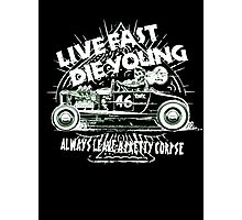 Hot Rod Live Fast Die Young - White & Green Neon (alpha bkground) Photographic Print
