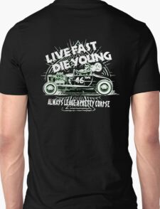 Hot Rod Live Fast Die Young - White & Green Neon (alpha bkground) Unisex T-Shirt