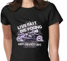 Hot Rod Live Fast Die Young - White & Pink Neon (alpha bkground) Womens Fitted T-Shirt