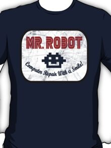 Mr Robot - Computer Repairs With A Smile Badge T-Shirt