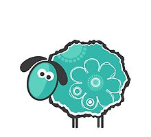Blue Lucky Sheep Vector Illustration by EveStock