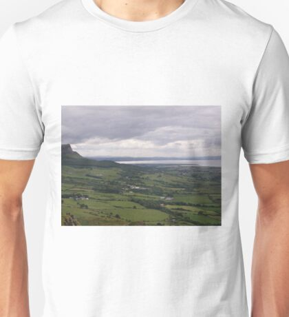 Benevenagh Mountain Magilligan Co. Derry looking over Lough Foyle  to Co.Donegal Ireland   Unisex T-Shirt