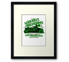 Hot Rod Live Fast Die Young - Green (alpha bkground) Framed Print