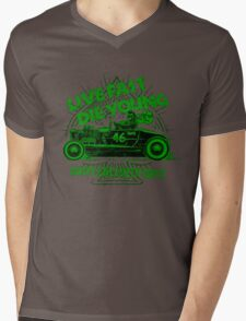 Hot Rod Live Fast Die Young - Green (alpha bkground) Mens V-Neck T-Shirt