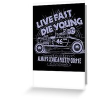 Hot Rod Live Fast Die Young - Purple (alpha bkground) Greeting Card