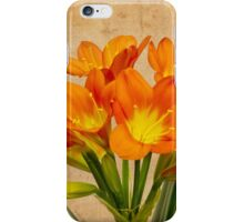Orange Clivia Lily Blossoms - Textured  iPhone Case/Skin