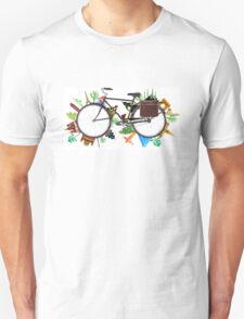 Global Bicycle round the world - save the planet design T-Shirt
