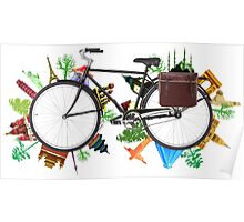 Global Bicycle round the world - save the planet design Poster