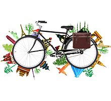 Global Bicycle round the world - save the planet design Photographic Print