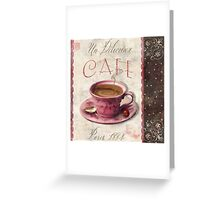 Patisserie Damask Coffee Cup Greeting Card