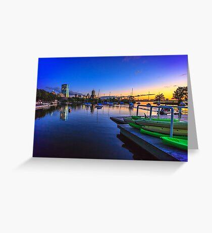 Green Kayaks Greeting Card