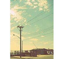 Telephone poles and the beautiful summer sky. Photographic Print