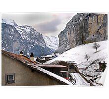 Log cabins and Chalets, Lauterbrunnen, Switzerland Poster