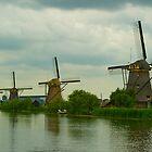 Windmills in Kinderdijk Holland by Richie Wessen