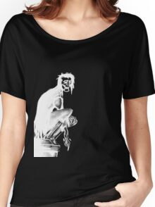 Gothic Gargoyle Perch (full alpha in white) Women's Relaxed Fit T-Shirt