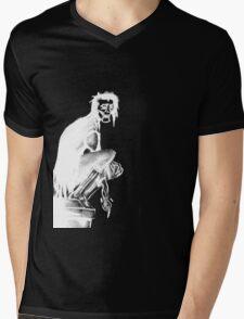 Gothic Gargoyle Perch (full alpha in white) Mens V-Neck T-Shirt