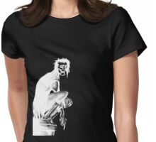 Gothic Gargoyle Perch (full alpha in white) Womens Fitted T-Shirt