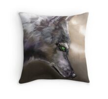 Wolf Profile 3-A Throw Pillow