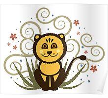 Cute Baby Lion Vector Illustration Poster