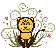 Cute Baby Lion Vector Illustration Photographic Print