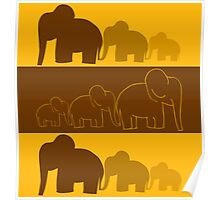 Elephants Colorful Vector Illustration Poster