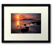 Sunset from Bay of Laig, Isle of Eigg, Scotland. Framed Print
