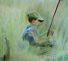 Ivan and the Red Rod - Original Pastel on paper by Claudia Goodell
