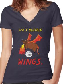 Spicy Buffalo Wings Women's Fitted V-Neck T-Shirt
