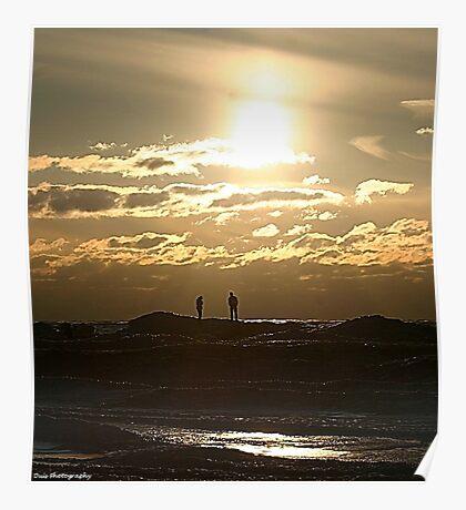 winter sunset on silver beach 2 Poster