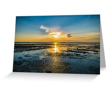Summer sunset over the beach of Whitstable in Kent Greeting Card