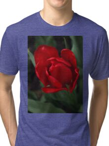 One Very Red Tulip in the Rain Tri-blend T-Shirt