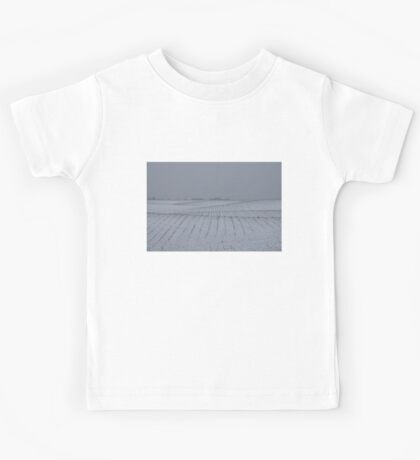 Winter Farm Fields - Rolling Hills on a Bleak Snowy Day Kids Tee