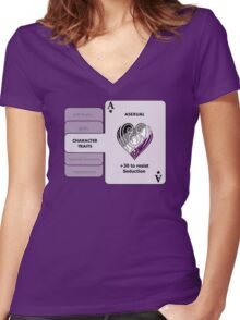 Asexual Character Bonus (Heart Symbol) Women's Fitted V-Neck T-Shirt