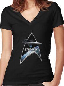 StarTrek Command Silver Signia Enterprise 2009 Women's Fitted V-Neck T-Shirt