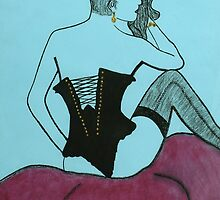 Girl in Black Bustier by Anthony  Askew