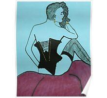 Girl in Black Bustier Poster