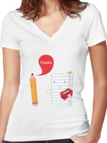 Pencil + paper Women's Fitted V-Neck T-Shirt