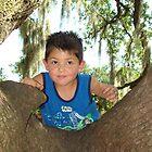 Joshua Jr. Playing On An Oak Tree by Wanda Raines