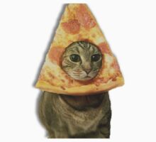 Cat with Pizza Head Kids Tee