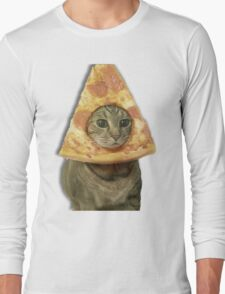 Cat with Pizza Head Long Sleeve T-Shirt
