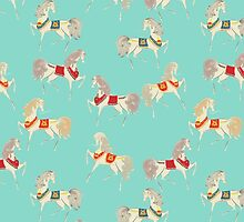 Dancing Horse in Turquoise Background Pattern by MyArt23