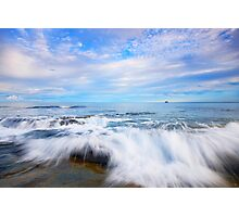 Rocks and waves at Kings Beach, QLD. Photographic Print
