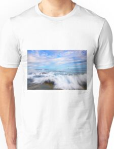Rocks and waves at Kings Beach, QLD. Unisex T-Shirt