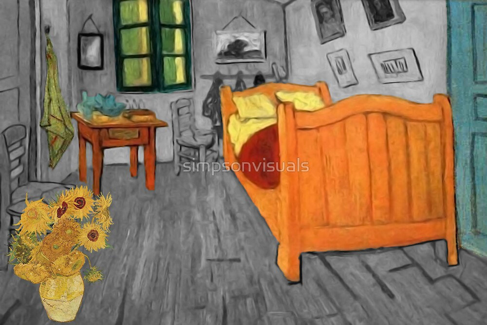 Vincent van Gogh - Sunflowers in the Bedroom at Arles by simpsonvisuals