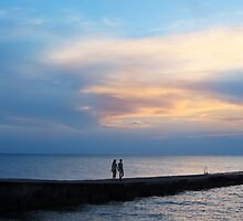 Lovers, sea and sunset by Olga Altunina