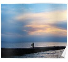 Lovers, sea and sunset Poster